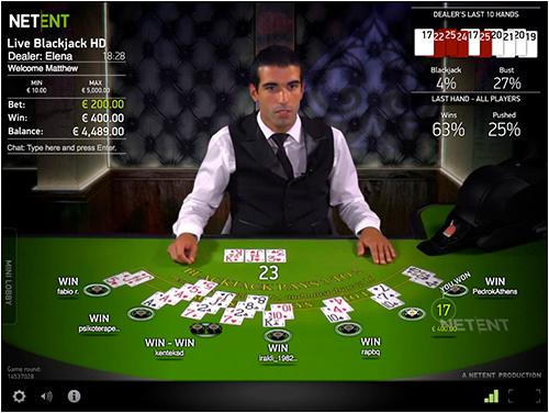 ライブカジノの画面